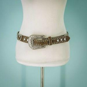 Blazin Roxx M Rhinestone Belt Leather Belt